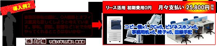 導入例2…コピー機×1,PC×6,ビジネスホン×6,事務用机×6,椅子×6,回線手配,月々支払い25800円