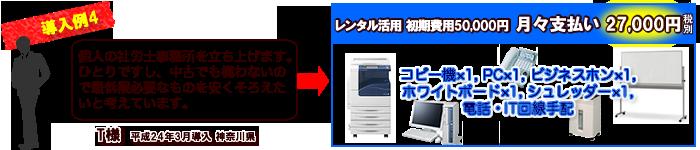導入例4…コピー機×1,PC×1,ビジネスホン×1,ホワイトボード×1,シュレッダー×1,電話・IT回線手配,月々支払い27000円